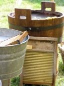 antique wooden wash tubs and scrub boards